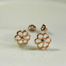 Shiny 14K/14ct Rose Gold Plated Cute Small Cutout Flower Stud Earrings Gift