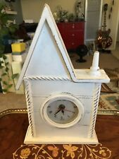 Shabby Chic Distressed White Wood Park Lane Steeple Tabletop Clock