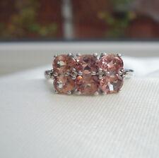 2.55ct Tanzanian Colour Change Garnet & Champagne Diamond White Gold Band Ring