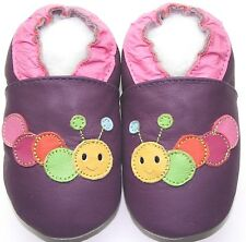 Minishoezoo caterpillar purple 6-12 m soft sole baby leather crib shoes slippers