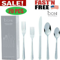 Flatware Cutlery Set Knife Fork Spoon Stainless Steel Silverware Service Kitchen