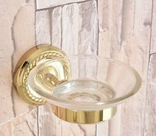 Luxury Gold Color Brass Wall Mounted Bathroom Glass Soap Dish Holder