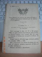 REGIO DECRETO 1886 CONVOCA COLLEGIO ELETTORALE DI RAVENNA  X  ELEZ DEPUTAT