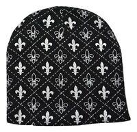 Fleur De Lis Knit Acrylic Black & Sliver Knit Beanie Winter Hat
