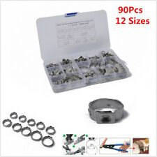 90pc Single Ear Plus Stainless Steel Hydraulic Hose Clamps Fuel Air O-Clips Pipe