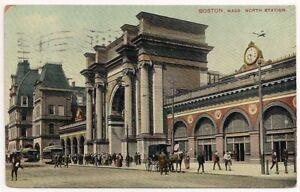 Postcard MA Boston North Station Train Winter Hill Somerville Massachusetts 1909