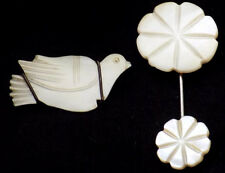 Vintage Mother of Pearl Dove pin & Hat Pin Flower on Both Ends