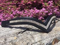 V Shaped Browband Crystal Browband  Xfull Full Cob Pony Brown or Black Leather