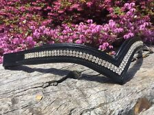 V Shaped Browband Crystal Brow Band  Full Cob Pony Brown or Black Leather