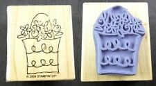 """Stampin Up 2004 Basket of Spring Flowers Mounted Rubber Stamp 2"""" x 1.75"""""""