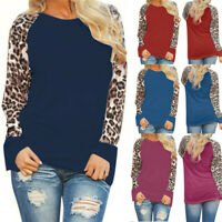 Women's Leopard Blouse Long Sleeve Fashion Ladies T-Shirt Oversize Pullover Tops