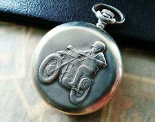 Molnija Vintage Pocket watch Motorcyclist Quartz USSR  Soviet Watch