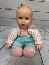 "1996 vtg. 9"" Gerber soft baby doll hair tuft bow Toy Biz Doll Head 1997 Beanie"