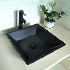 Square Black Porcelain Ceramic Bathroom Vessel Sink Basin w/ORB Faucet Drain