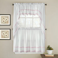 Daisy Mae Floral Kitchen Window Curtain Tier Pair, Valance or Swag Pair Pink