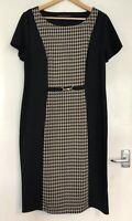 David Emmanuel Size 16 Black Dogstooth Work Dress Office Smart Slimming