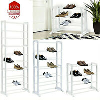 4, 7, 10 Tier Shoe Rack Extendable & Stackable Organiser for 12, 21 & 30 Pairs