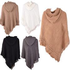 Women Outwear Warm Hooded Knit Batwing Cape Poncho Cardigan Tassels Sweater