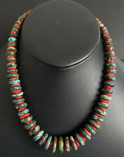 Sterling Silver Turquoise Coral Bead Necklace. 19 inch