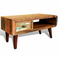 Antique Coffee Table Rustic Reclaimed Wood Living Room Furniture Curved Edge