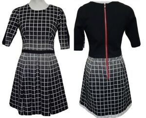 NEW Yoana Baraschi Ombre Knit Checkered Dress Sz 8 Fit & Flare Made in NYC USA