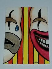 New listing Aceo original Clowns painting CIRCUS THEATER signed