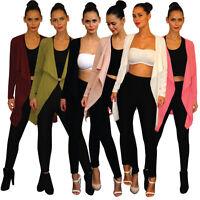 UK Womens Ladies Crepe Long Sleeve Waterfall Coat/ Jacket S/M-M/L