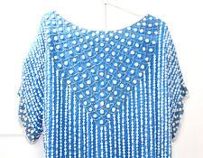 Beautiful Vintage Frank Usher 12 Size M Evening Top Blue 100% Silk White Sequin