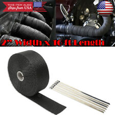 "Black 2"" 15ft Exhaust Header Downpipe Pipe Heat Wrap 6 Ties For Nissan Infiniti"