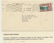 "CEYLON TO UK 1942 CENSOR COVER, 15c ""PERFIN- M&CO"" RATED (SEE BELOW)"