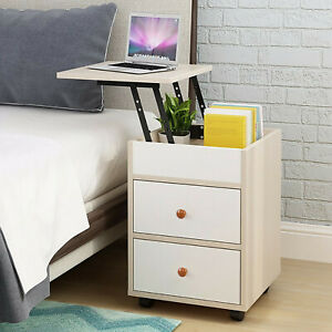 Lift Top Coffee Table End Side Table Nightstand Table w/2 Drawer Hidden Storage