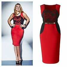 Simply Be Sz 16 Lovedrobe Red Black Lace Trim Illusion Belt DRESS Party Xmas £49