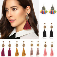 Vintage Women Bohemian Long Tassel Fringe Boho Ear Stud Dangle Earrings Jewelry