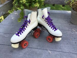 Vintage Riedell Ladies 7 Sure Grip White Leather Roller Quad Skates in BOX