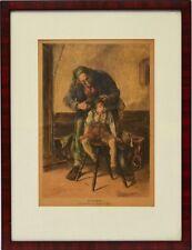 Holzschnitt handkoloriert 19. Jh. Der Haarschneider Friseur Barbier 41 x 31 cm