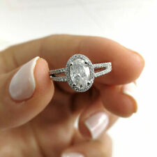 14k White Gold Finish 1.79ct Round Diamond Halo Ring