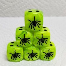 Dice - Chx Custom SPIDER! 6/Set - Vortex Bright Green w/Black #1 Spider & Pips