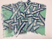 """COACH Fashion Scarf - Mint Green with Eye Lash Trim 43""""x40"""""""