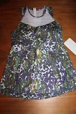 LULULEMON Running In The City Tank Mesh Luon Floral Multi White Yoga Top sz 4 XS