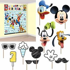 MICKEY MOUSE WALL BANNER DECORATING KIT (5pcs) w/ 12 Photo Props! Party Supplies