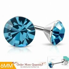 6mm Earrings Round Stainless Steel Set Diamond And Aigue-Ma