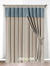 4-Pc Clover Trellis Floral Curtain Set Slate-Blue Gray Valance Drape Sheer Liner