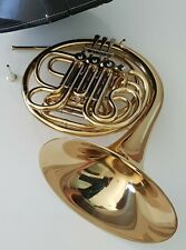 More details for french horn double trigger f / bb - brass finish - hard case - complete outfit