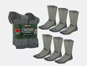 Outdoor Trail Socks (6 pairs) Merino Wool Blend Made in the USA
