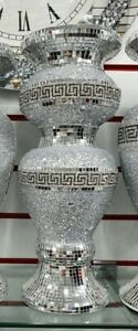 Crushed Diamond Ceramic Silver Vase Diamante Bling Home Decoration Ornament 40cm