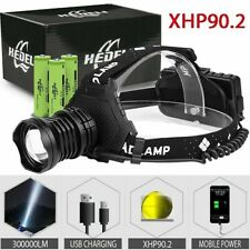 300000 LED Head Lamp xhp90 Headlamp Torch USB Rechargeable Headlight New