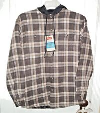 New Wrangler Men's Heavyweight Hooded Shirt Jacket Dk Brown/Brown Small 34-36
