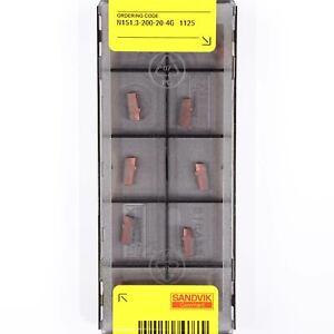 10 SANDVIK N151.3-200-20-4G - 1125 CNC Lathe Carbide Internal Grooving Inserts
