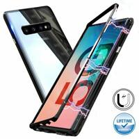 For Samsung Galaxy S10 S9 S8 Plus Note Magnetic Adsorption Metal Tempered Glass