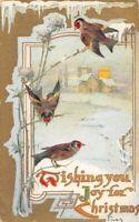 CPA Fantaisie - Joyeux Noël - oiseaux devant un paysage de neige